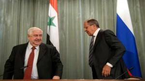 """وزير الخارجية السوري """"وليد المعلم"""" و وزير الخارجية الروسي """"سيرغي لافروف"""""""