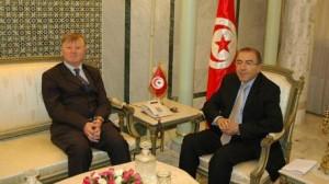 """سفير بلجيكا بتونس """"باتريك بيطار"""" و وزير الخارجية """"المنجي الحامدي""""،"""
