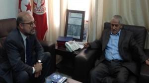 """""""حسين العباسي"""" يلتقي سفير اسبانيا بتونس"""