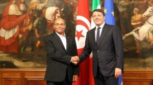 """المرزوقي يلتقي برئيس الحكومة الإيطالية """"ماتيو رينزي"""""""