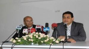 """وزيرا الثقافة """"مراد الصّكلي"""" والاقتصاد والمالية """"حكيم بن حمّودة""""  خلال ندوة صحفيّة مشتركة"""