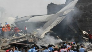 تحطم طائرة النقل العسكري الإندونيسية