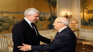 السبسي و رئيس لجنة الشؤون الخارجية بمجلس الشيوخ الإيطالي بيار فردناندو كازيني