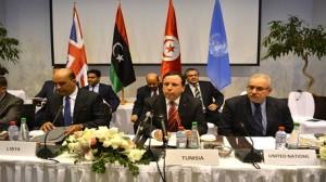 الجهيناوي، وزير الشؤون الخارجية في اجتماع كبار الموظفين حول الدعم الدولي إلى حكومة الوفاق الوطني في ليبيا.