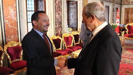 محمد الناصر و دانيال روبنشتاين سفير الولايات المتحدة الأمريكية بتونس