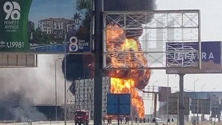 انفجار خط الغاز الطبيعي بدائري القاهرة الجديدة