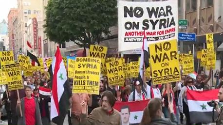 مظاهرات أمريكية ضد الغارة على سوريا