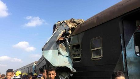 حصيلة حادث تصادم قطارين بمصر: 49  قتيلاً و120 جريحًا