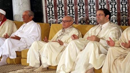 الرؤساء الثلاثة يؤدون صلاة العيد بجامع مالك بن أنس