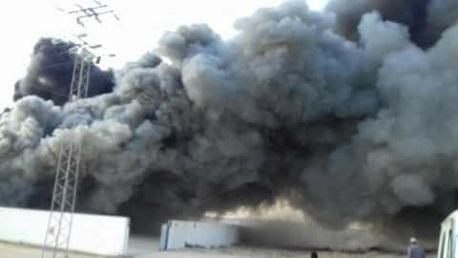 قبلي: حريق بأحد المصانع المعدة لتخزين التمور بمدينة جمنة