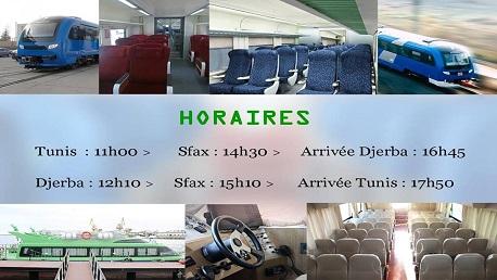 موعد إطلاق السفرة الحديدية/البحرية لنقل المسافرين بين تونس و جربة