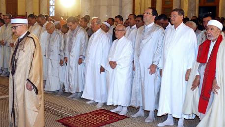 رئيس الجمهورية الباجي قايد السبسي يؤدي صلاة #عيد_الأضحى المبارك بجامع مالك بن أنس صباح يوم الثلاثاء 21 أوت 2018.