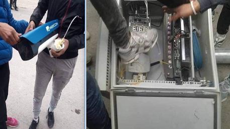 إسقاط كاميروات المراقبة التي ركزتها وزارة الداخلية في مفترق حي الزهور وتهشيمها عشية اليوم إثر الاحتجاجات