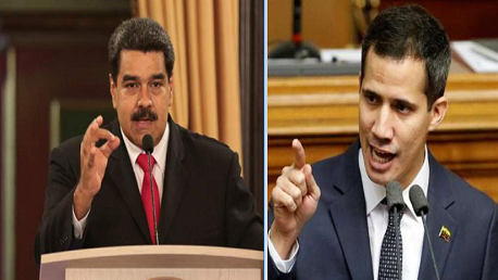 الرئيس الفنزويلي، نيكولاس مادورو، ورئيس البرلمان الفنزويلي خوان غوايدو