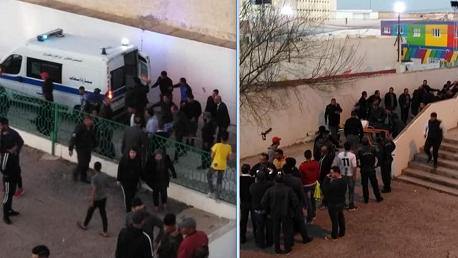 إصابات بليغة في صفوف جماهير شبيبة القيروان بعد إنهيار السور الخارجي لقاعة عزيز ميلاد