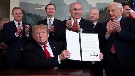 ترامب يعترف رسميا بسيادة تل أبيب على هضبة الجولان المحتل