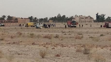سقوط طائرة هليكوبتر عسكرية بمطار قمار في الوادي