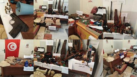 تستور – باجة / القبض على شخص وحجز بنادق صيد ومسدس حربي ومجموعة من التحف الأثرية