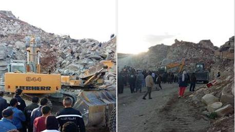 النفيضة: انهيار مقطع جبلي لاستخراج الحجارة والبحث عن عاملين تحت الأنقاض