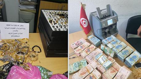 الديوانة تحجز مبالغ من العملة التونسية وكمية من المصوغ بقيمة تفوق الـ250 ألف دينار