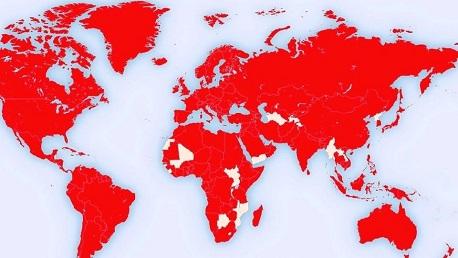 خريطة العالم كورونا