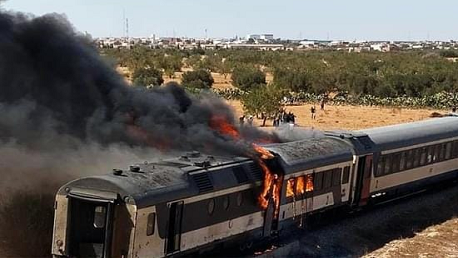 حريق قطار صفاقس