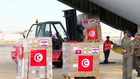حن المساعدات التي أذن بتوجيهها رئيس الجمهورية قيس سعيد إلى لبنان