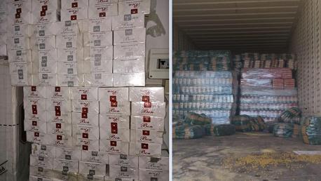 الحرس الديواني يحجز 16 طنا من المواد الغذائية و6 آلاف علبة سجائر مهربة