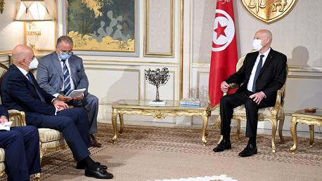 قيس سعيد يستقبل نيكوس ديندياس، وزير الخارجية اليوناني